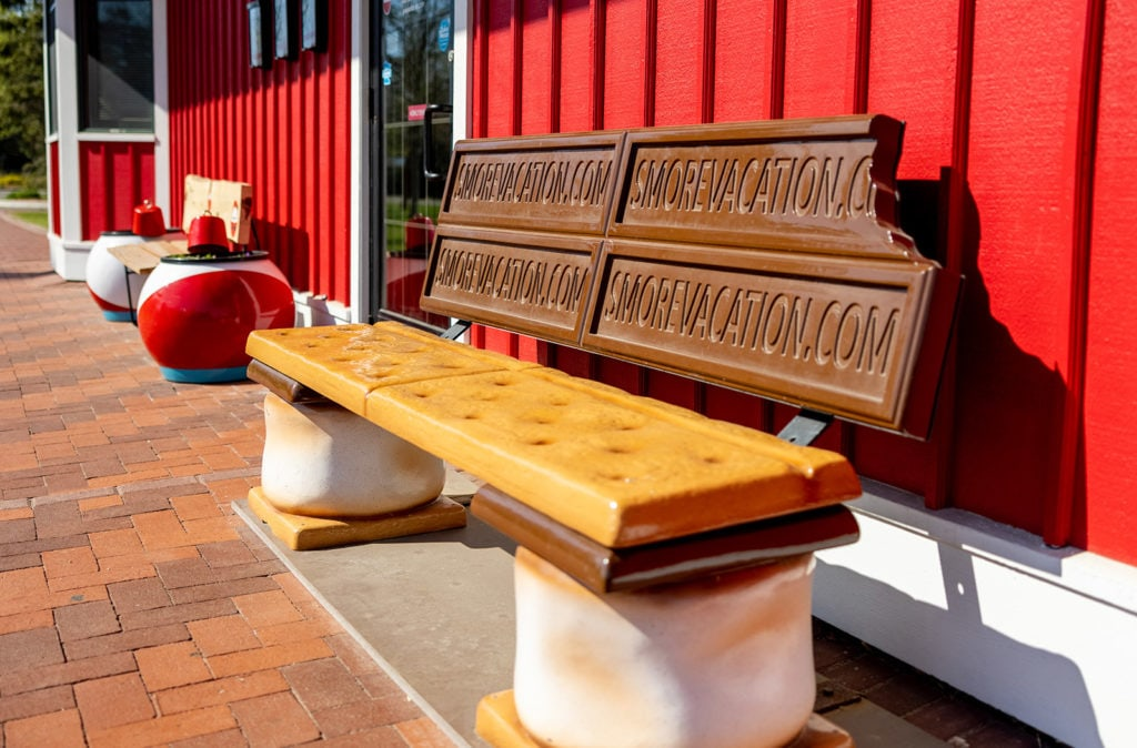 Bench made out of s'mores ingredients