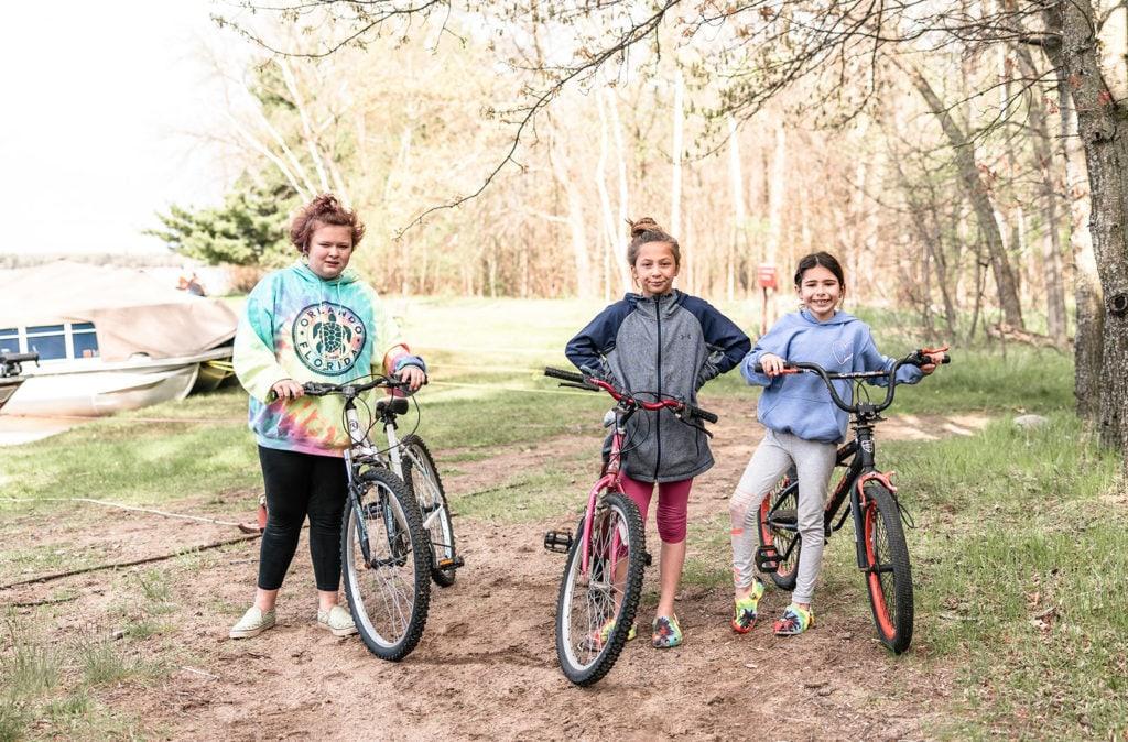 Three kids with bikes