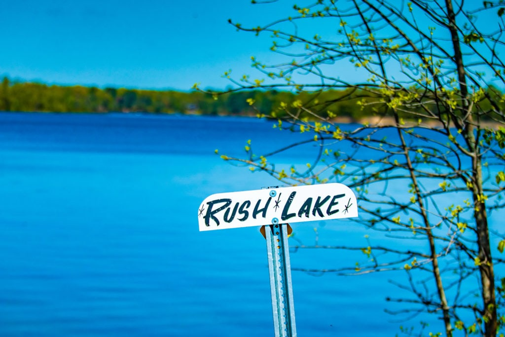 Sign for Rush Lake