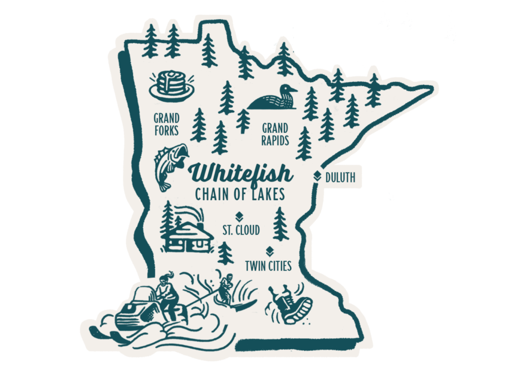 Illustrated map of Minnesota with various activities