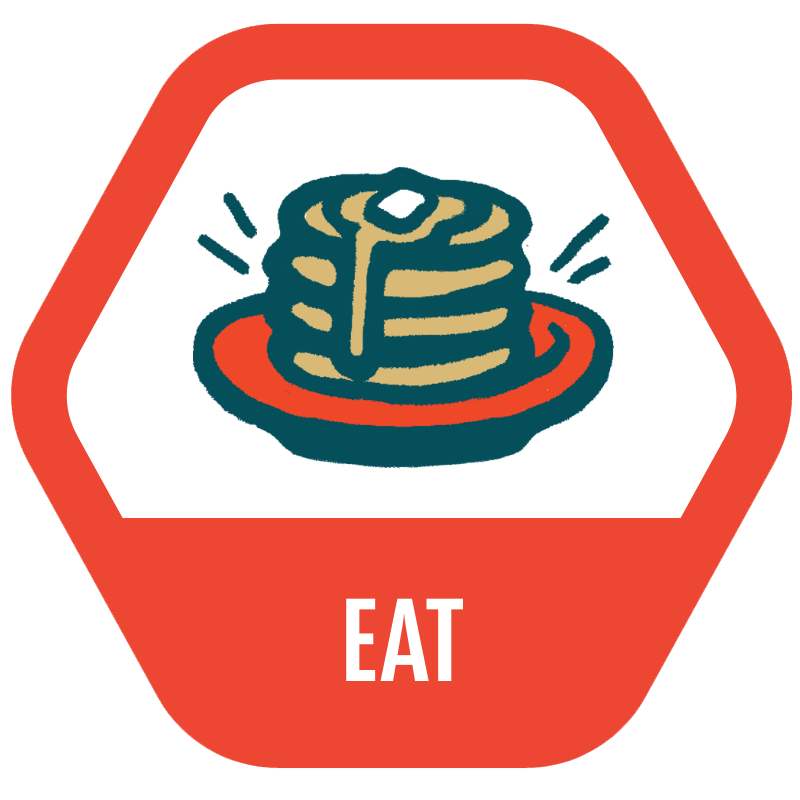 Eat icon with an illustrated stack of pancakes