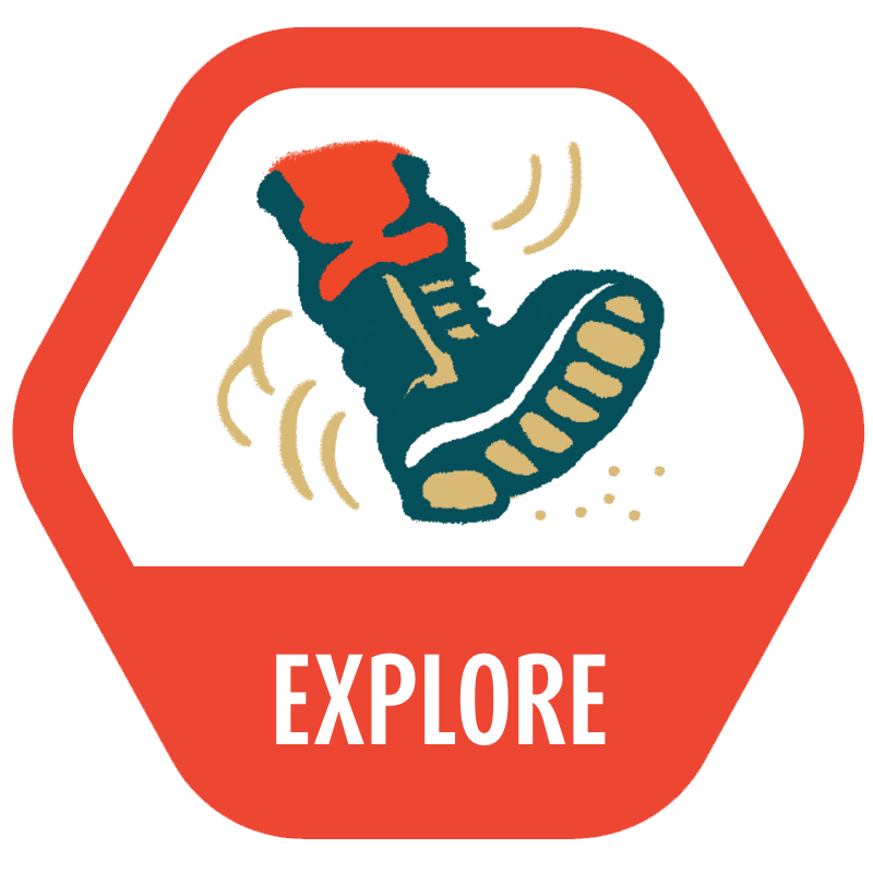 Explore icon with an illustrated hiking boot